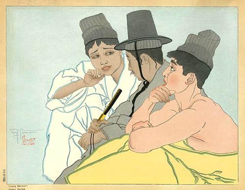 Trois Coreens. Seoul, Coree, 1935