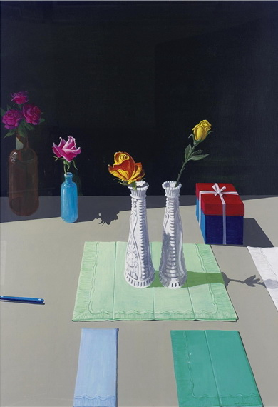 Still Life with Napkins and Gift Box - Paul Wonner