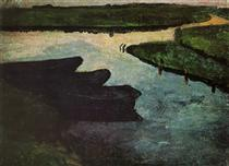 Marsh channel with peat barges - Paula Modersohn-Becker
