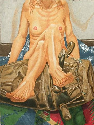 Nude and African drum, 2006 - Philip Pearlstein