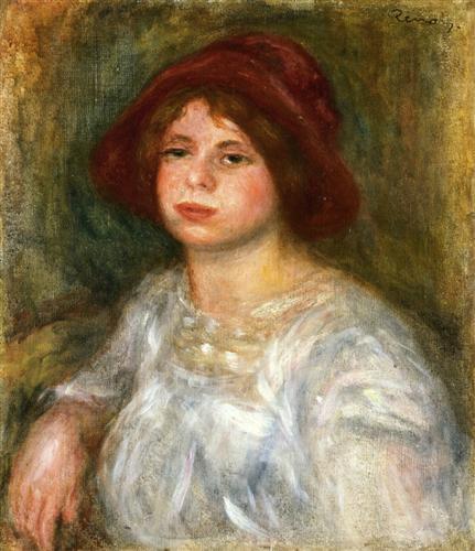 Girl in a Red Hat - Pierre-Auguste Renoir