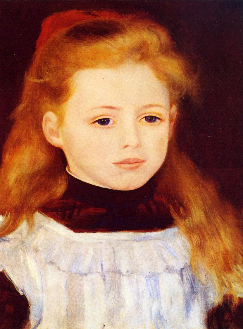 White apron.org - Little Girl In A White Apron Portrait Of Lucie Berard 1884 Pierre