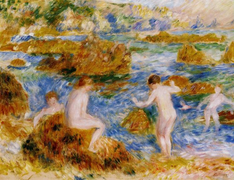 Nude Boys on the Rocks at Guernsey, 1883 - Pierre-Auguste Renoir