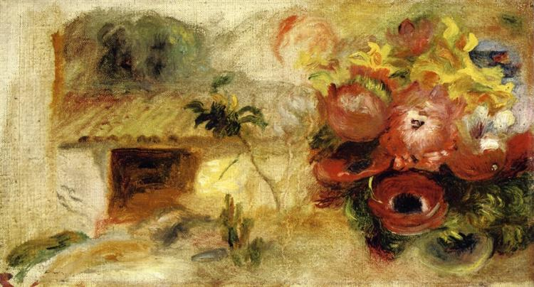Small House, Buttercups and Diverse Flowers (study), c.1910 - Pierre-Auguste Renoir