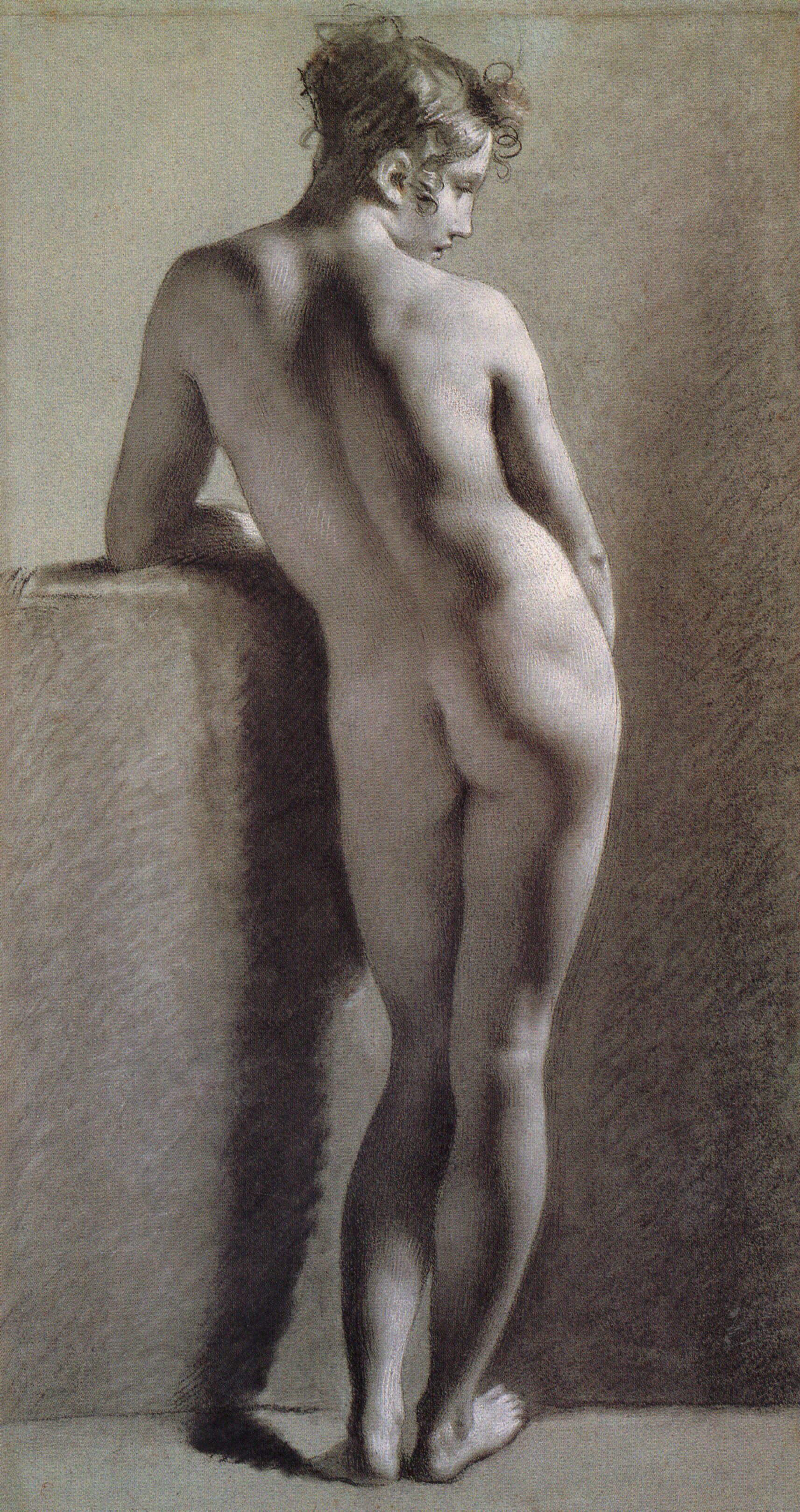 Female Nude from Behind - Pierre-Paul Prud'hon. Artist: Pierre-Paul Prud'hon