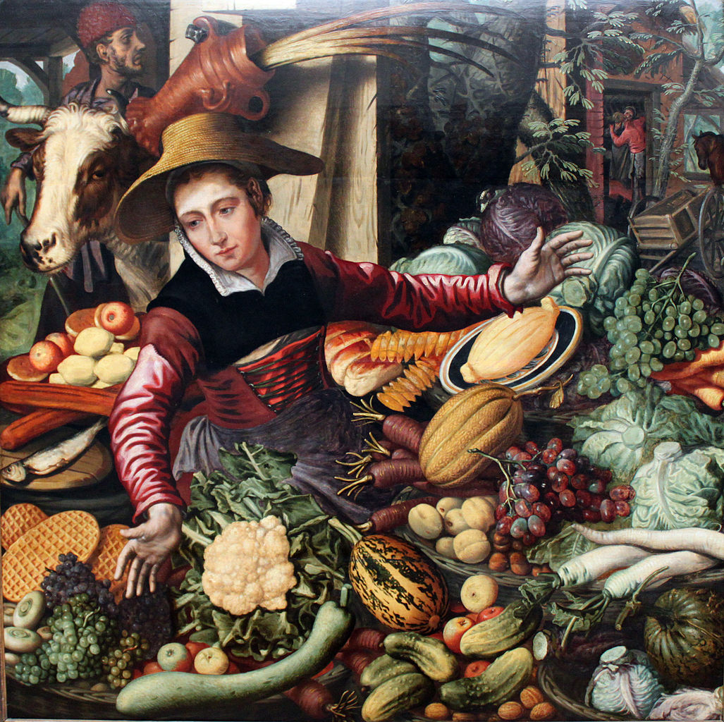 Market woman at a vegetable stand, 1567