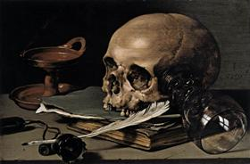 Still Life. Skull and Writing Quill - Pieter Claesz