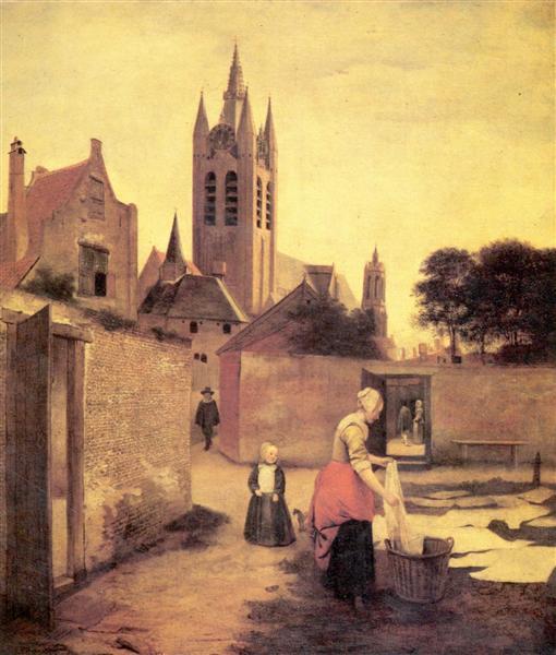 A woman and a child on a Bleichwiese, c.1658 - Pieter de Hooch