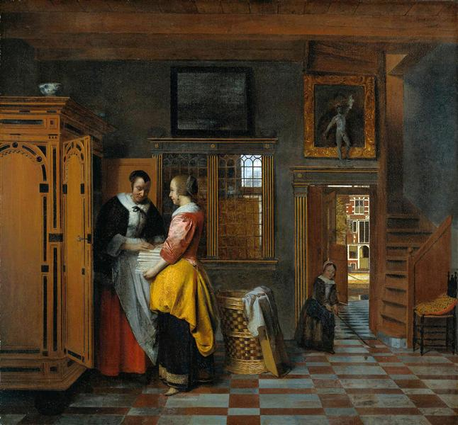 At the Linen Closet, 1663 - Pieter de Hooch