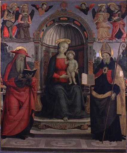 Virgin and St. Jerome and St.Augustine, c.1500 - Pietro Perugino