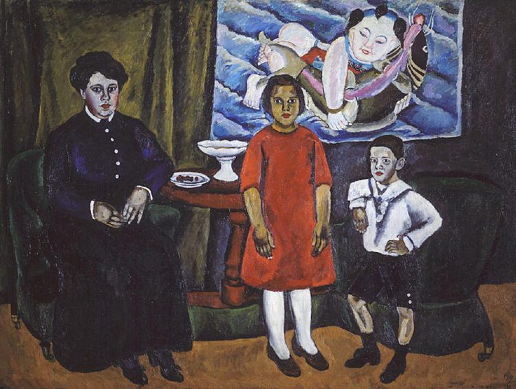 Family Portrait (against Chinese panel), 1911 - Pyotr Konchalovsky