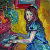 Portrait of daughter - Pjotr Petrowitsch Kontschalowski