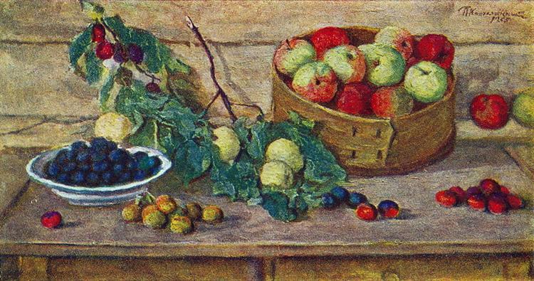 Still Life. Apples in a sieve., 1955 - Pjotr Petrowitsch Kontschalowski