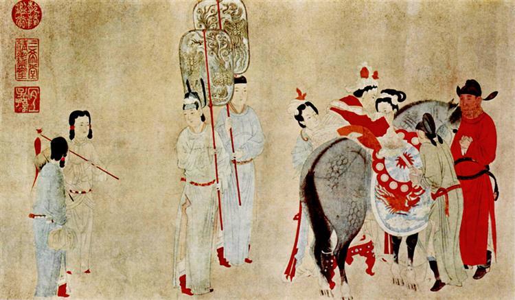 Yang Guifei Mounting a Horse, 1300 - Qian Xuan