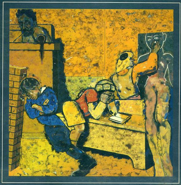 The Jewish School (Drawing a Golem) - Ron Kitaj