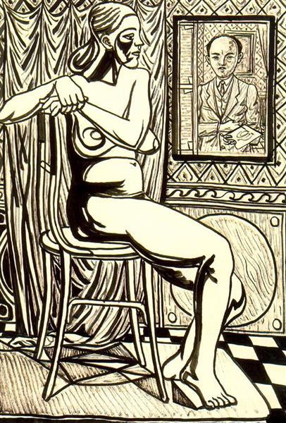 Seated female nude and artist's self-portrait - Rafael Zabaleta