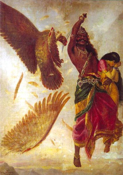 Jatayu Vadham, 1895 - Raja Ravi Varma