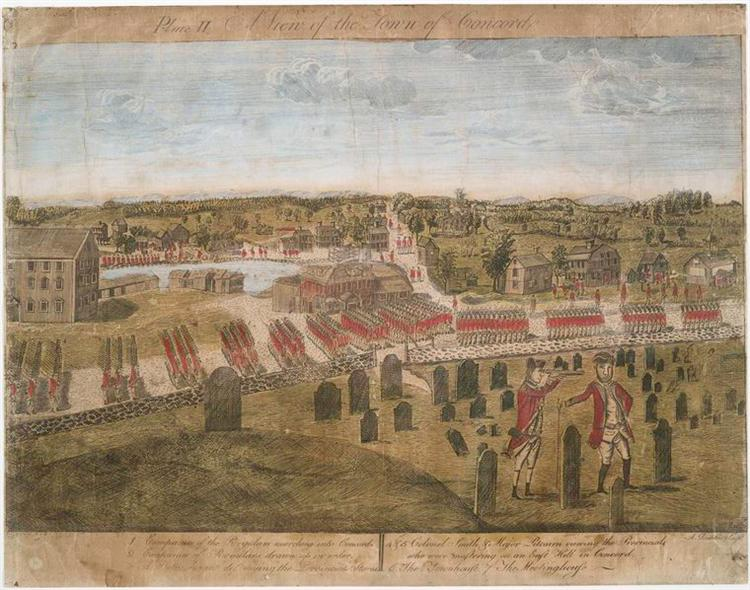 Plate II. The British Army in Concord - Ralph Earl