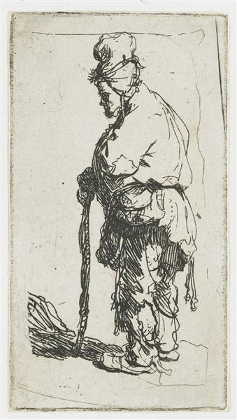 Beggar leaning on a stick, facing left, 1630 - Rembrandt