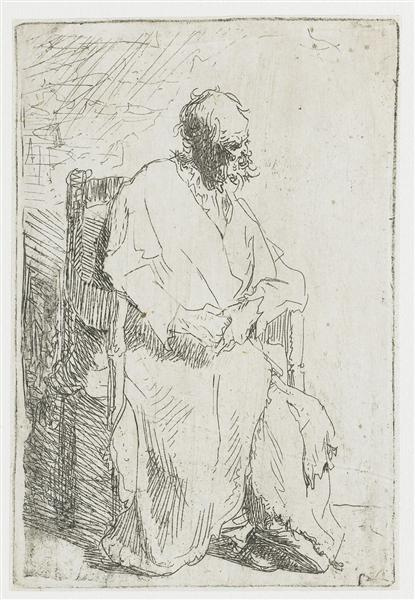 Old man in a long cloak sitting in an armchair, 1630 - Rembrandt