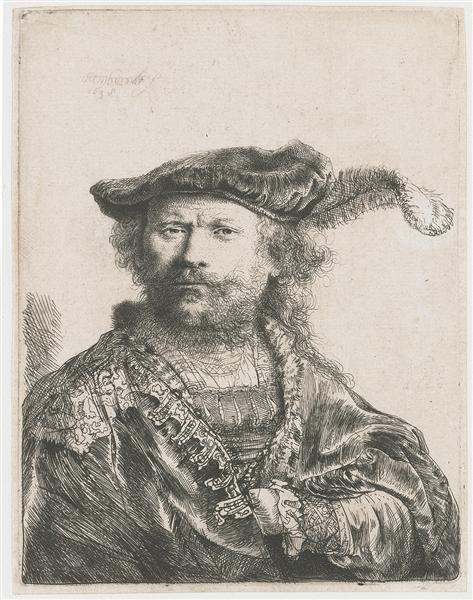 Self-portrait in velvet cap and plume - Rembrandt