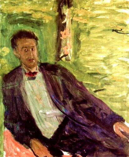 Portrait of a gentleman (green background), 1908 - Рихард Герстль