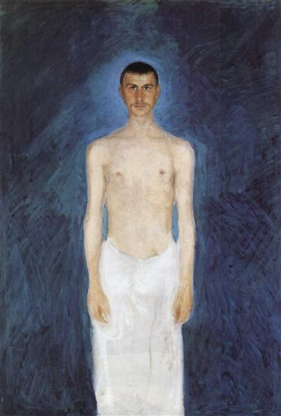 Self-portrait in front of blue background, 1905 - Richard Gerstl