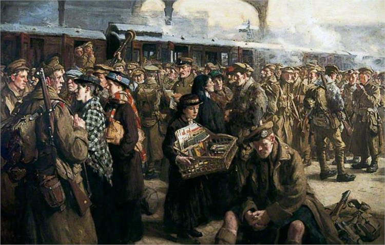 The Return to the Front. Victoria Railway Station - Richard Jack