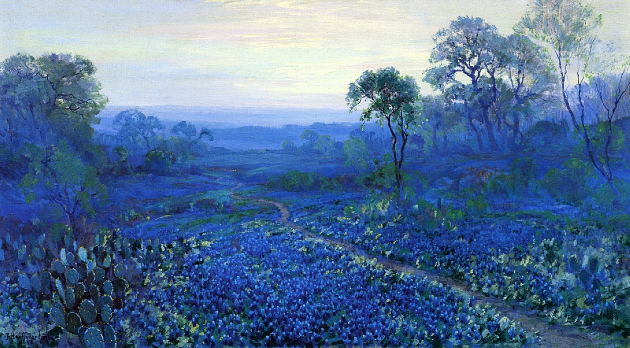 Art Of The Day Julian Onderdonk Bluebonnet Landscape With Cacti