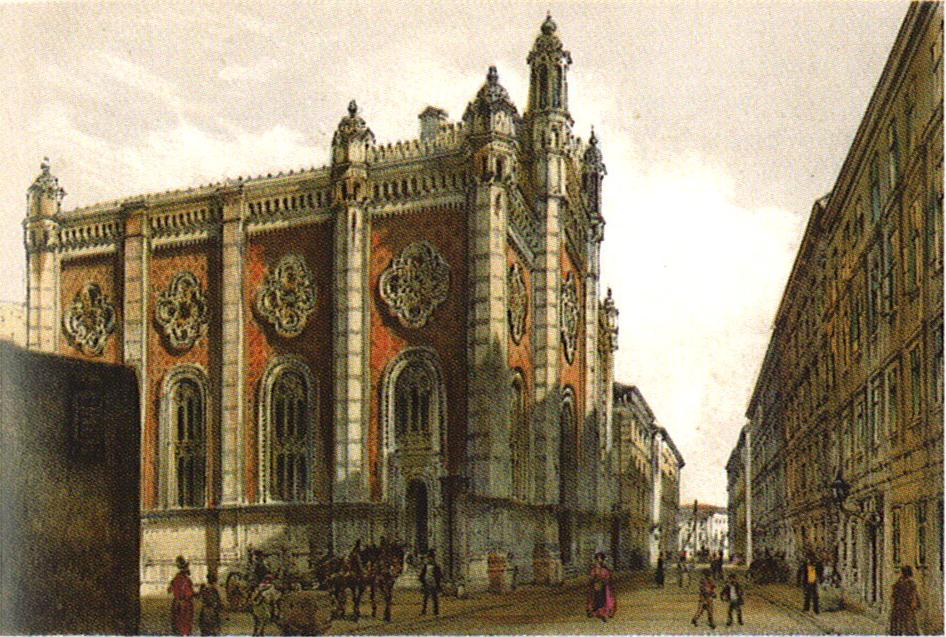 Jewish temple in the city Leopold, 1860