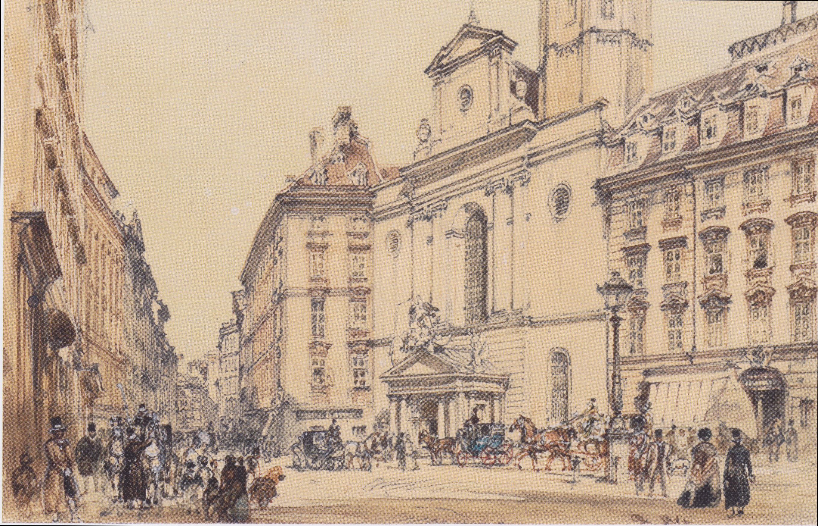Michaelerplatz and carbon market in Vienna, 1844