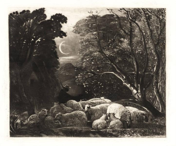 Evening, engraved by Welby Sherman, 1834 - Samuel Palmer