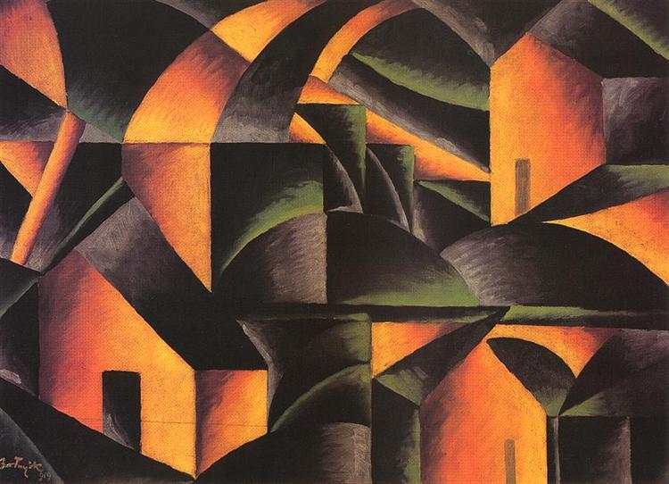 Yellow-Green Landscape, 1919 - Sandor Bortnyik