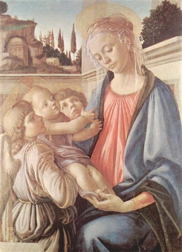 Madonna with two angels - Sandro Botticelli