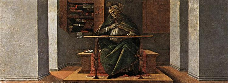 St Augustine in his Study, predella panel from the Altarpiece of St Mark, c.1488 - 1490 - Sandro Botticelli