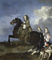 Equestrian portrait of Christina, Queen of Sweden - Sébastien Bourdon