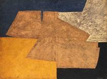 Composition jaune, mauve, bleu et noir (La table d'or) - Серж Поляков