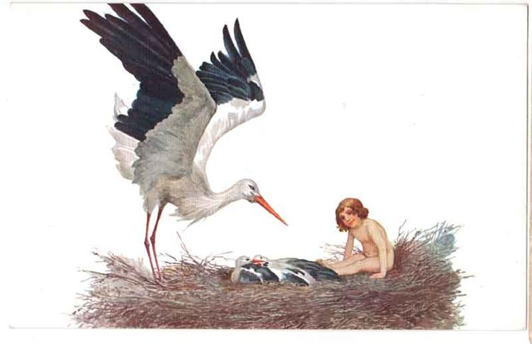 Blessed be the house where a stork nested, 1917 - Sergey Solomko