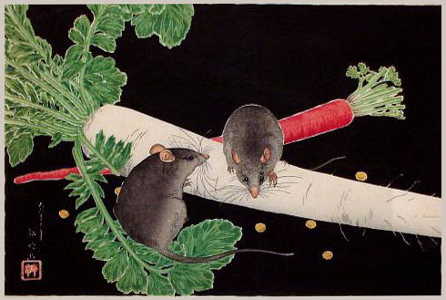 Japanese Radish, Rats, and Carrot, 1930 - Shotei Takahashi