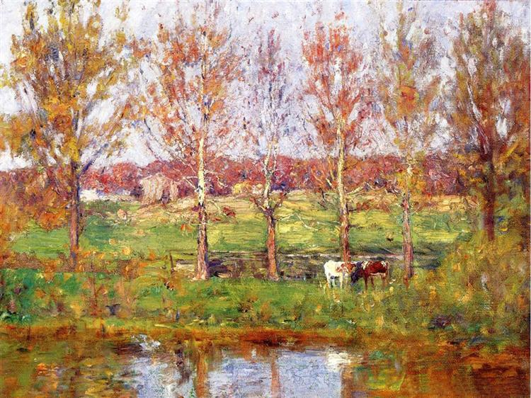 Cows by the Stream - T. C. Steele