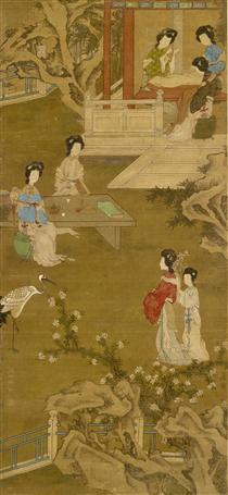 Making the Bride's Gown (anonymous copy after Tang Yin) - Tang Yin