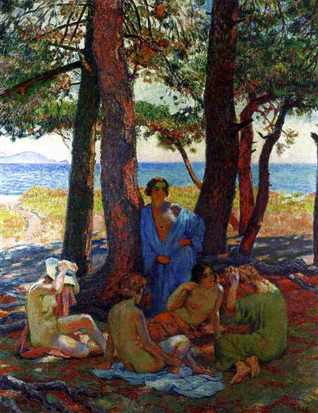 Bathers under the Pines by the Sea, 1926 - Theo van Rysselberghe