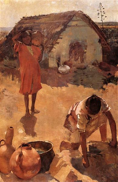 Figures near a Well in Morocco, c.1883 - Theo van Rysselberghe