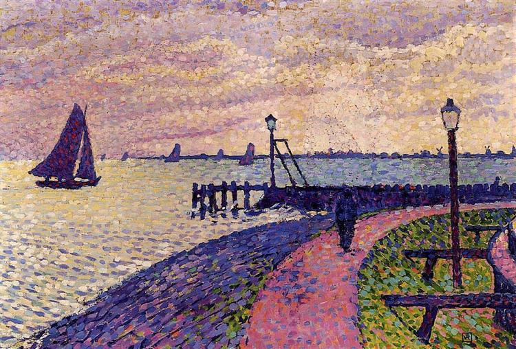 Port Entrance at Volendam - Theo van Rysselberghe