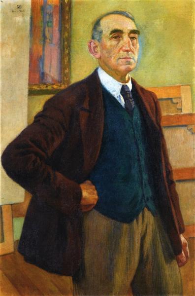 Self Portrait in a Green Waistcoat, 1924 - Theo van Rysselberghe
