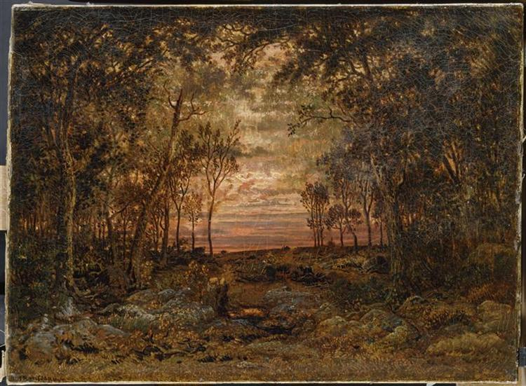 Sunset in the forest, 1866 - Theodore Rousseau