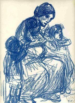 Femme de trois-quarts et trois enfants, 1916 - Theophile Steinlen