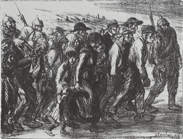 Les Internes - Entree Dans Les Geoles Allemandes, 1915 - Theophile Steinlen