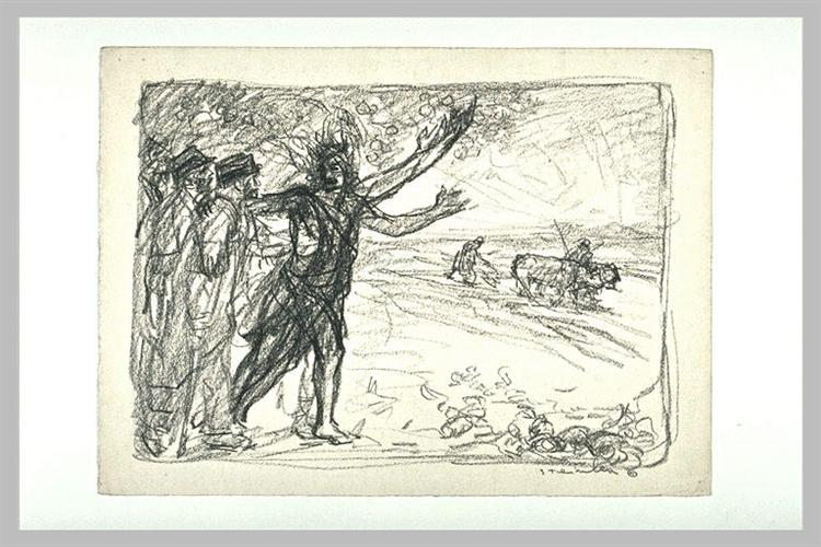 Study for WWI litho - Theophile Steinlen