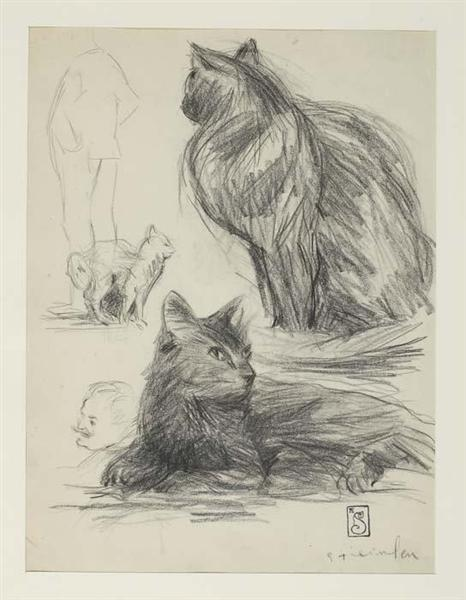 Study of Cats and Figures - Theophile Steinlen